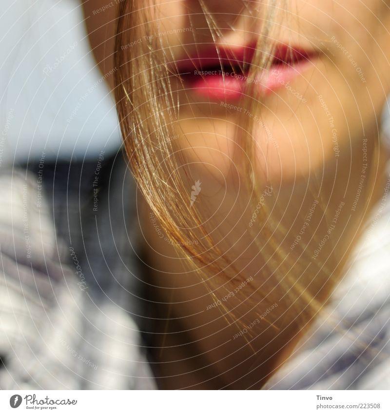 bis in die Spitzen 3 feminin Mund Lippen 1 Mensch brünett langhaarig hängen Freundlichkeit schön Lippenstift Haarsträhne Haarspitze Farbfoto Außenaufnahme Tag