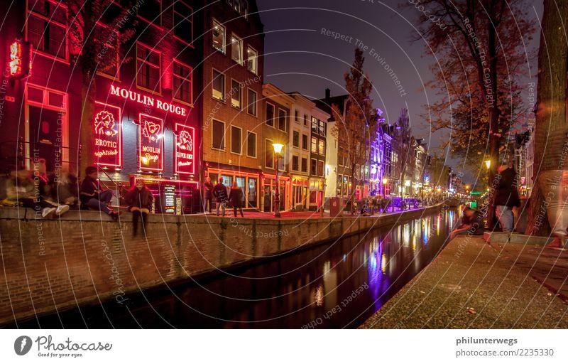 Moulin Rouge und Rotlichtviertel in Amsterdam bei Nacht Lifestyle exotisch Freude Ferien & Urlaub & Reisen Tourismus Ausflug Freiheit Städtereise Nachtleben