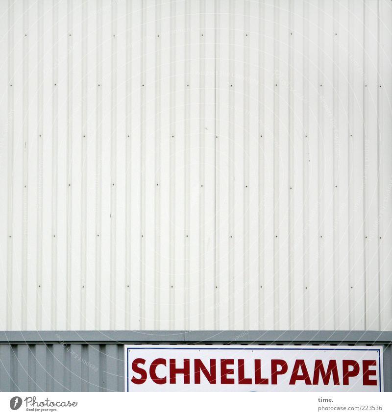 HH10.2 | Fast Food rot Wand grau Gebäude außergewöhnlich Ernährung Schilder & Markierungen Geschwindigkeit Buchstaben skurril parallel Lagerhalle vertikal