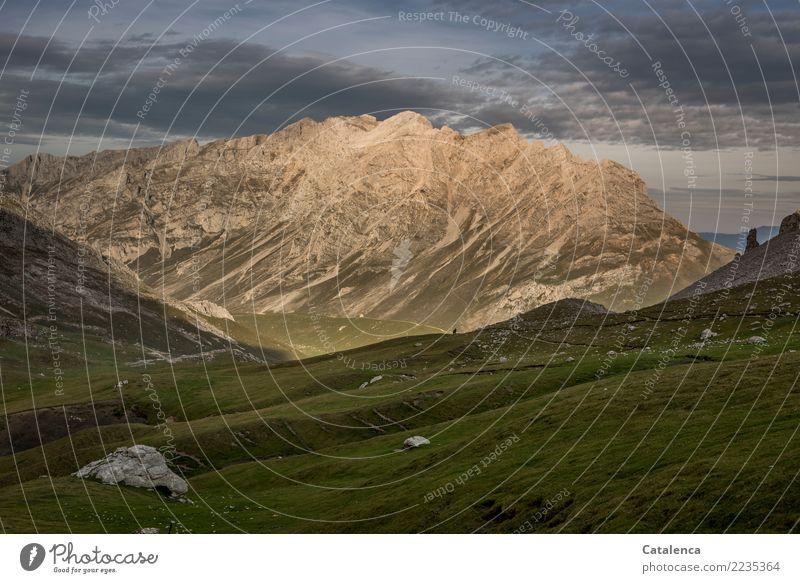 Rückweg 2 Mensch Landschaft Himmel Wolken Sommer Gras Felsen Berge u. Gebirge Schneebedeckte Gipfel Picos de Europa Nationalpark Wege & Pfade Fußweg beobachten