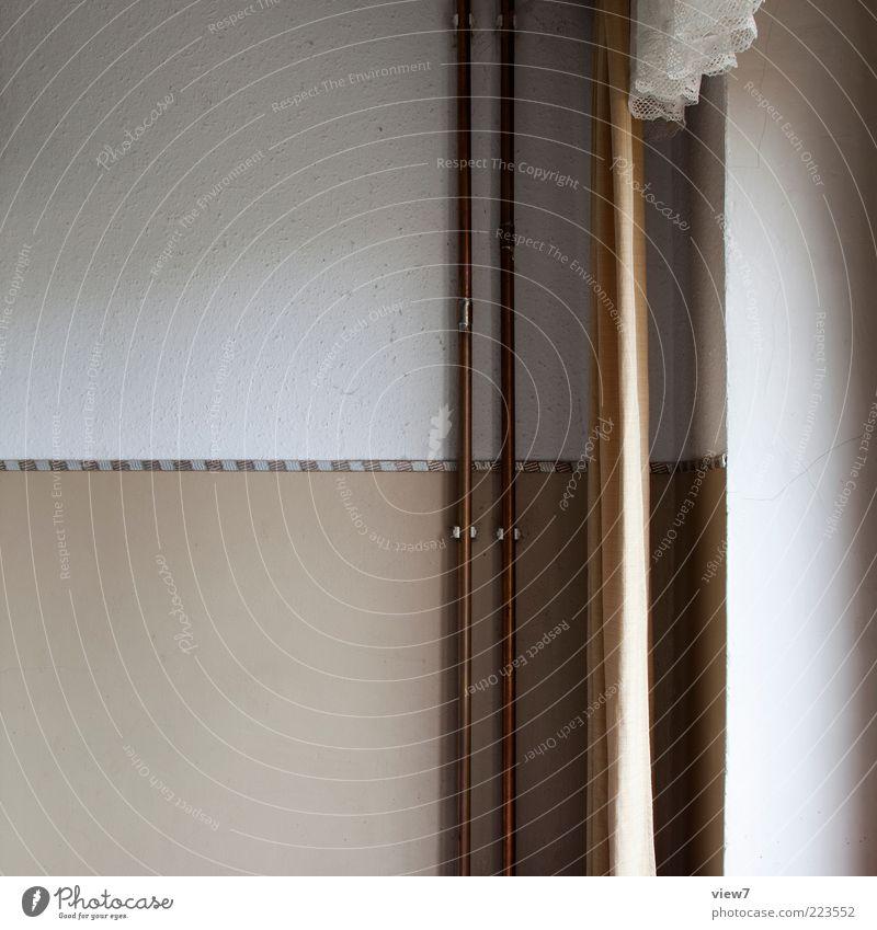 Tageslicht alt ruhig Wand Stein Metall Linie braun Raum authentisch Streifen Dekoration & Verzierung Innenarchitektur einfach Vergänglichkeit rein Zeichen