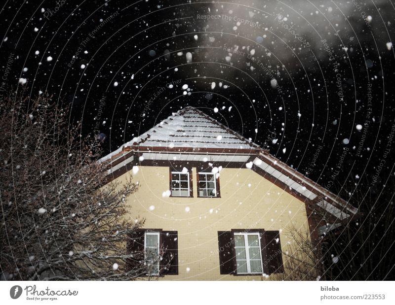 Leise rieselt der Schnee Winter Schneefall Haus Einfamilienhaus Hütte Fassade schwarz weiß ruhig bizarr Schneeflocke Niederschlag Wolken Nebel Abend