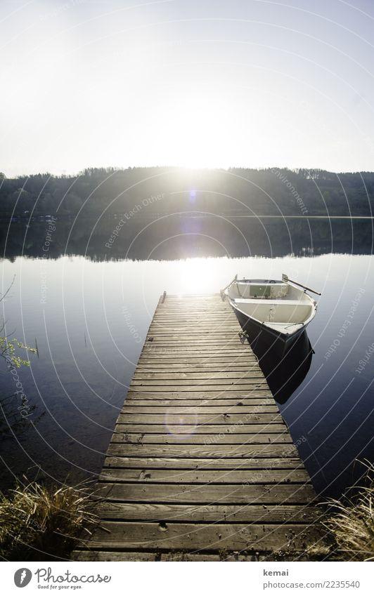 Der Steg am See Natur Ferien & Urlaub & Reisen Sommer Wasser Landschaft Erholung ruhig Ferne Wärme Lifestyle Holz Tourismus Freiheit Ausflug Freizeit & Hobby