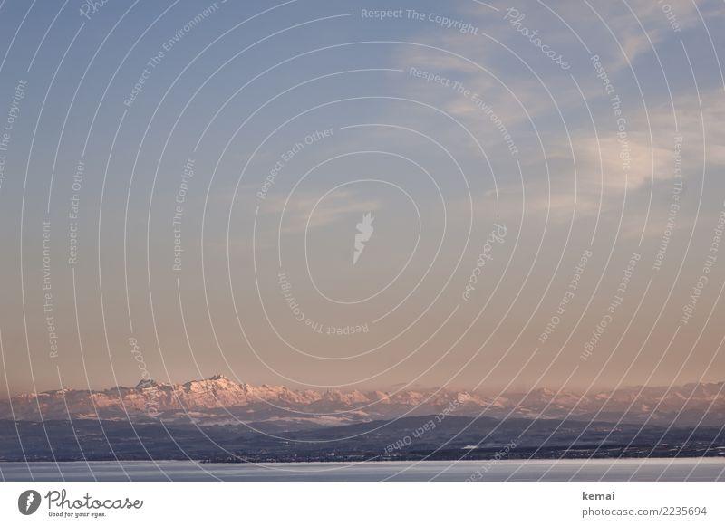 Nachmittag Himmel Ferien & Urlaub & Reisen Natur blau Wasser Landschaft Erholung Wolken ruhig Ferne Berge u. Gebirge Herbst kalt Schnee Tourismus Freiheit