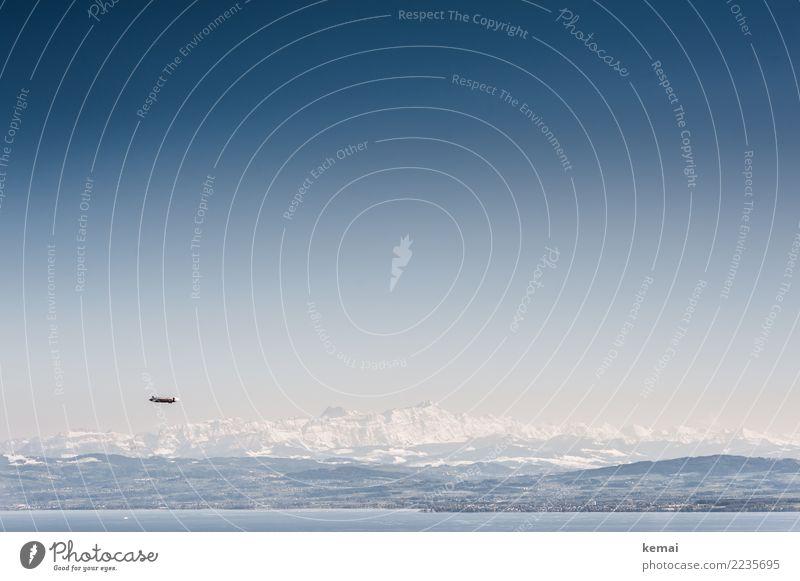 Zeppelin überm Bodensee Erholung ruhig Freizeit & Hobby Ferien & Urlaub & Reisen Ausflug Abenteuer Ferne Freiheit Winter Berge u. Gebirge Natur Landschaft