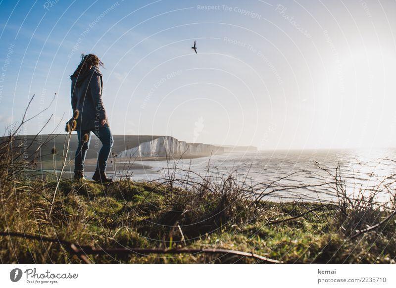 Seven Sisters, seagull and me. Mensch Ferien & Urlaub & Reisen Landschaft Meer Erholung ruhig Ferne Wärme Leben Lifestyle Küste feminin Freiheit Zufriedenheit