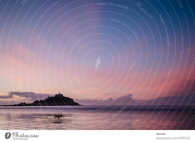 Rosa und Lila Himmel Natur Ferien & Urlaub & Reisen schön Wasser Landschaft Meer Erholung Wolken ruhig Ferne Umwelt Küste Tourismus Freiheit rosa
