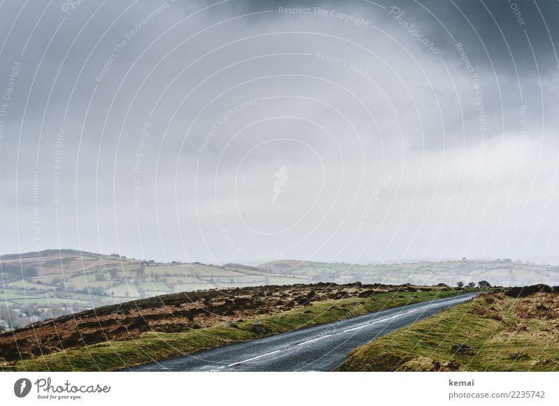 Straße durchs Moor ruhig Freizeit & Hobby Ferien & Urlaub & Reisen Ausflug Abenteuer Ferne Freiheit Umwelt Landschaft Himmel Wolken Herbst Wetter