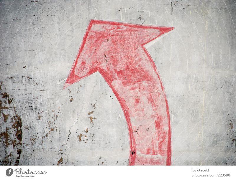 (Alt+Pfeil rechts) Mauer Wand Stein Zeichen Schilder & Markierungen Linie drehen alt eckig fest grau rot Stimmung Vorfreude Tatkraft Akzeptanz Beginn ästhetisch