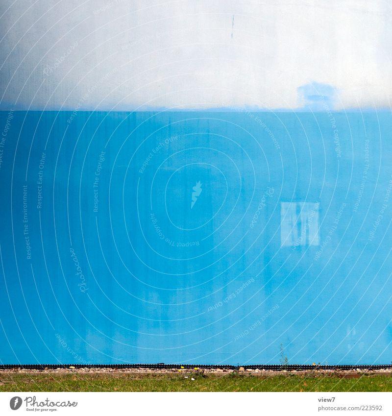 gebraucht alt blau Wand Gefühle Mauer Stein Linie Fassade Beton Design modern ästhetisch authentisch Streifen Hoffnung einzigartig