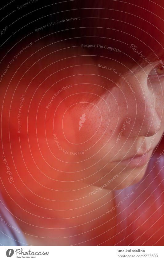 dream a little dream feminin Junge Frau Jugendliche Erwachsene 1 Mensch 18-30 Jahre rot Lichtpunkt Unschärfe Sommersprossen glänzend leuchten Farbfoto