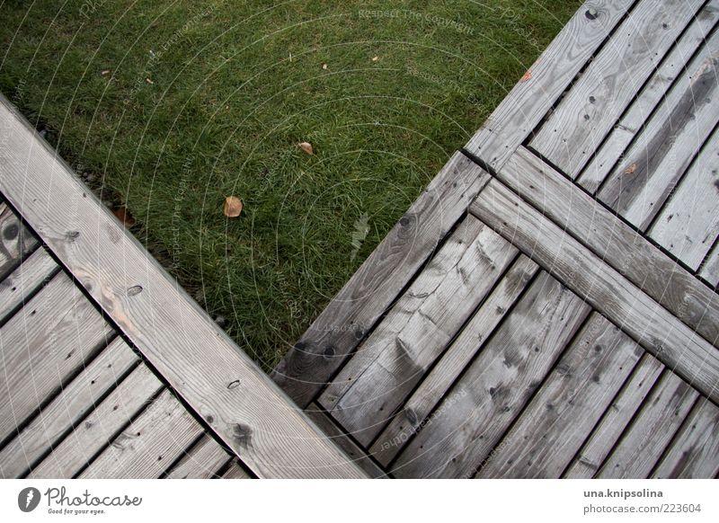 V Umwelt Gras Terrasse eckig grün Holz Steg Rasen Geometrie Linie Schneidebrett Bodenbelag Wiese Textfreiraum Tag Farbfoto Gedeckte Farben Außenaufnahme