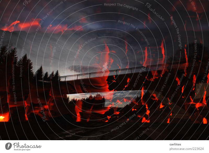 Brücke Himmel blau rot Ferne schwarz dunkel Wege & Pfade Wärme Angst elegant Feuer ästhetisch gefährlich bedrohlich Vergänglichkeit