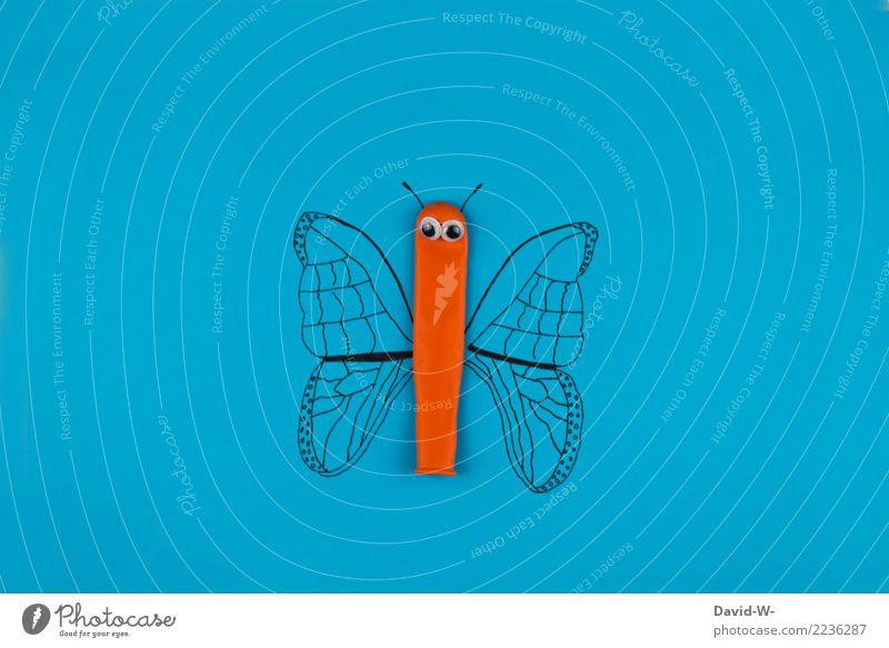 Schmetterling Lifestyle Freizeit & Hobby Spielen Basteln Kindheit Leben Kunst Kunstwerk Tier Flügel 1 beobachten Zeichnung Luftballon Auge orange Kreativität