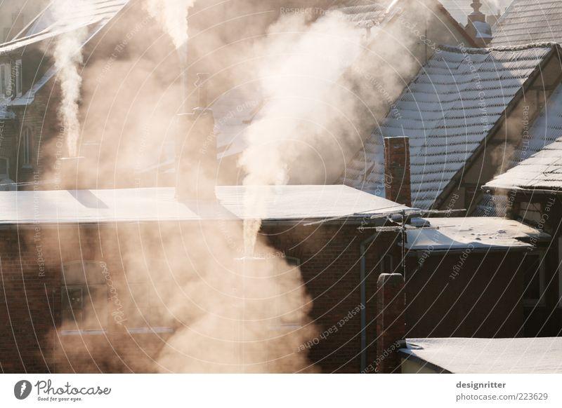 Heizperiode Stadt Haus Winter kalt Umwelt Wetter Klima Warmherzigkeit Dach Rauch Abgas frieren Geborgenheit Schornstein Klimawandel Umweltverschmutzung