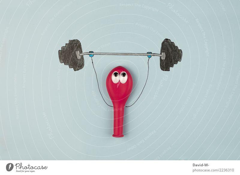 Kraftprotz - noch ist die Luft nicht ganz raus Gewichte heben Hanteln Fitness Bodybuilding Training stark witzig lustig