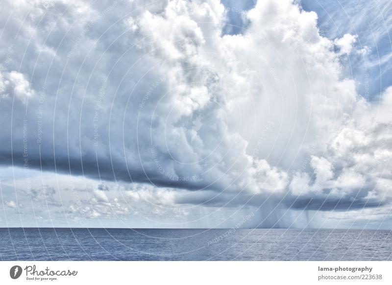Wetteraussichten Umwelt Natur Luft Wasser Himmel Wolken Gewitterwolken Horizont Klima Klimawandel Unwetter Regen Meer bedrohlich blau Kumulus HDR Farbfoto