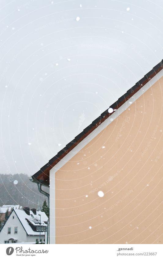 Leise rieselt der Schnee Umwelt Wetter schlechtes Wetter Eis Frost Schneefall Kleinstadt Haus Einfamilienhaus Mauer Wand Fassade Dach Dachrinne frieren glänzend