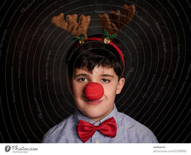 lustiges Kind zu Weihnachten Lifestyle Freude Feste & Feiern Weihnachten & Advent Silvester u. Neujahr Mensch maskulin Kleinkind Kindheit 1 3-8 Jahre Accessoire