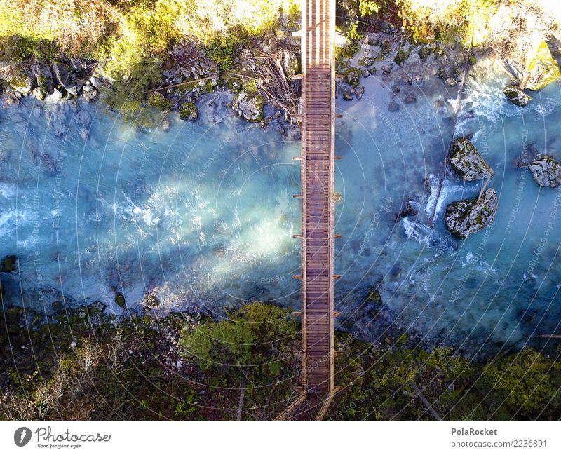 #S# Brücke Natur blau grün Wasser Bewegung Holz Glück Stein wandern Schönes Wetter Klima Mut deutlich Strömung geradeaus