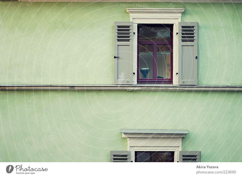 Das Fenster gegenüber Haus Einfamilienhaus Gebäude Architektur Mauer Wand Fassade Fensterladen Beton Holz Glas Metall stehen Häusliches Leben eckig braun grau
