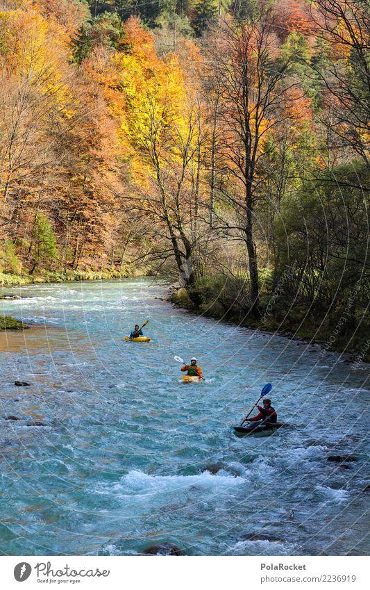 #S# Kajak Wandern III Natur Wasser Wald gelb Herbst Sport Menschengruppe Schwimmen & Baden orange wandern Fluss Alpen Leidenschaft Wassersport Extremsport