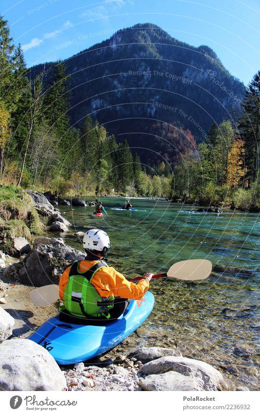 #S# Kajak Ready Natur blau Wald Berge u. Gebirge Herbst Sport Menschengruppe Schwimmen & Baden orange Wasserfahrzeug Fluss Alpen Klarheit Leidenschaft