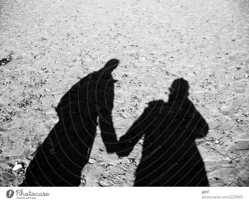 Ein Paar Mensch Partner 2 Liebe Schwarzweißfoto Reflexion & Spiegelung Schatten Textfreiraum oben Hand in Hand Sand Silhouette Liebespaar Zusammensein