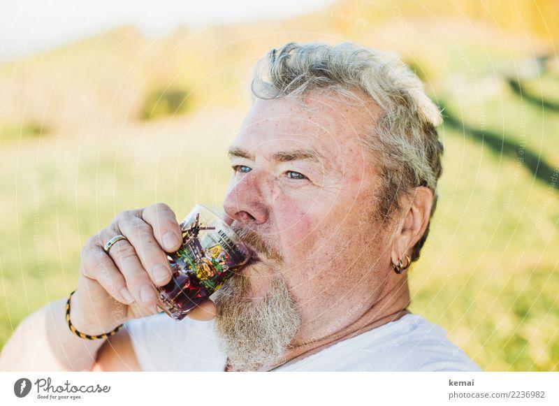 Genießer trinken Alkohol Wein Glas Stil Leben Wohlgefühl Zufriedenheit Erholung Mensch maskulin Männlicher Senior Mann Erwachsene Kopf 1 60 und älter