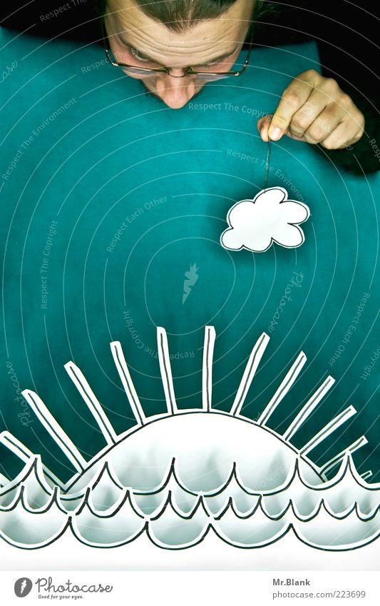 Bastel dir 'nen Sonnenaufgang Mensch Himmel blau weiß Sonne Meer schwarz Erwachsene Leben Umwelt Spielen träumen Wellen maskulin frei außergewöhnlich