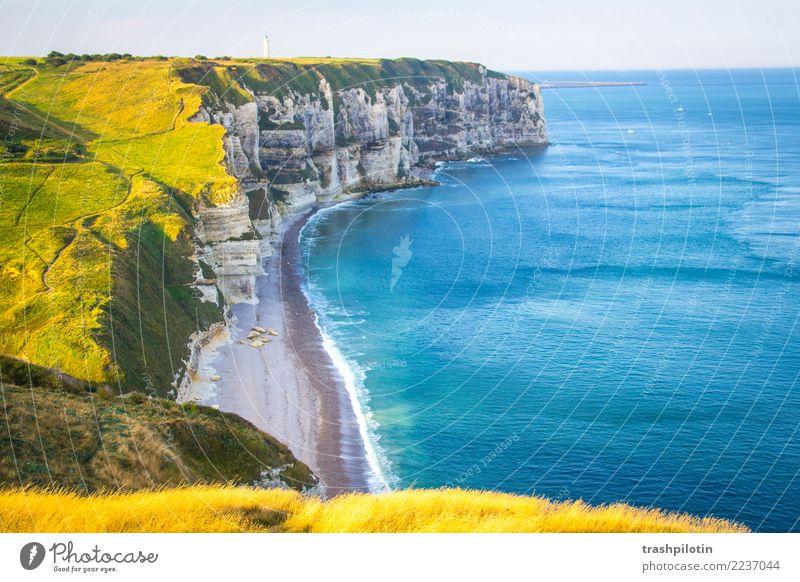 Etretat Nordsee Étretat Frankreich Normandie Landschaft Kreidefelsen Meer Herbst Natur Gegenlicht Felsen