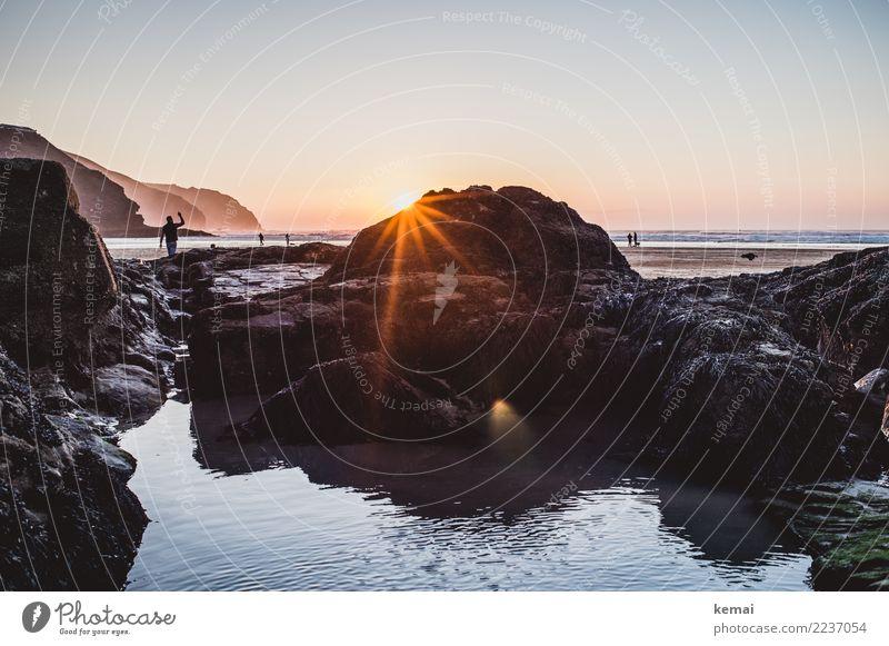 Abends am Strand in Cornwall Mensch Natur Ferien & Urlaub & Reisen schön Wasser Landschaft Meer Erholung ruhig Ferne Wärme Lifestyle Küste Tourismus Freiheit