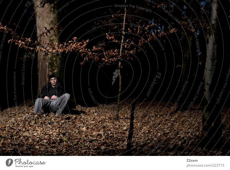 allein gelassen Lifestyle Mensch maskulin Junger Mann Jugendliche 18-30 Jahre Erwachsene Umwelt Natur Landschaft Herbst Baum Sträucher Moos Wald Jeanshose Mütze