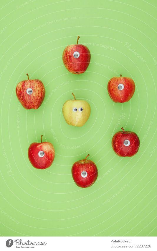 #AS# Dudes In Green Kunst Kunstwerk ästhetisch Kreativität Frucht Gesunde Ernährung kindisch Spielen Unsinn Gesundheit Apfel grün Vitamin Farbfoto mehrfarbig