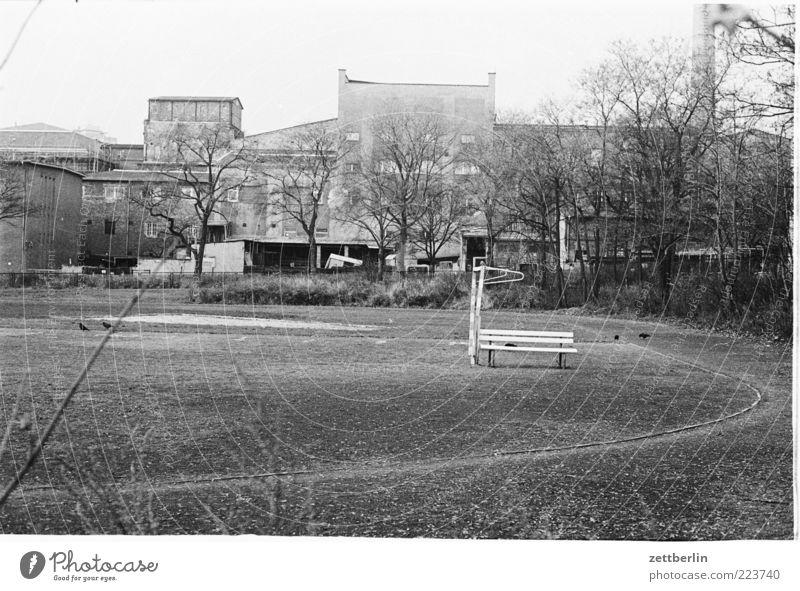 Ostberlin Umwelt Natur Landschaft Herbst Park Hauptstadt Industrieanlage Mauer Wand Unlust Sehnsucht Heimweh Fernweh Platz Wiese Gras Rasen Sportplatz DDR