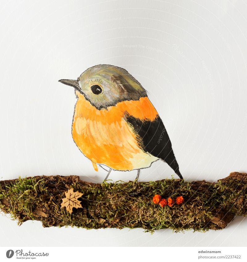 Little bird Freizeit & Hobby Basteln Natur Tier Herbst Moos Wildtier Vogel 1 Papier Dekoration & Verzierung Holz beobachten Blick warten Freundlichkeit klein