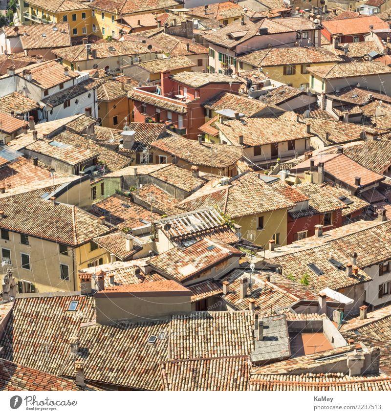 Häusermeer von Malcesine Sightseeing Städtereise Haus Italien Italienisch Veneto Europa Dorf Kleinstadt Stadt Altstadt Bauwerk Gebäude Architektur Dach alt