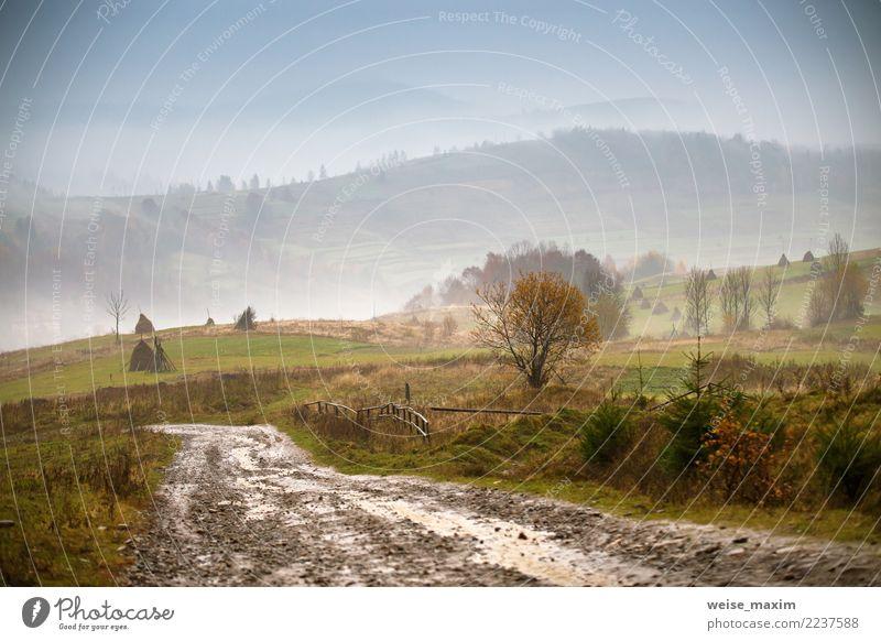 Schlammiger Boden. Landstraße nach Regen in den Bergen. Extremer Pfad Ferien & Urlaub & Reisen Berge u. Gebirge Natur Landschaft Erde Himmel Wolken Herbst
