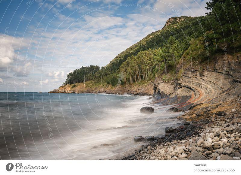 Steinstrand Himmel Natur Sommer blau Pflanze grün weiß Landschaft Baum Meer Wolken Strand Küste braun grau rosa