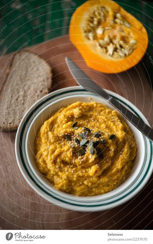 Kürbishummus Essen Gesundheit Lebensmittel Ernährung frisch lecker Gemüse Bioprodukte Brot Schalen & Schüsseln Backwaren Abendessen Messer Diät