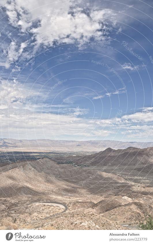 Landschaft Palm Springs II Umwelt Natur Urelemente Erde Sand Luft Himmel Wolken Horizont Sommer Klima Wetter Schönes Wetter Dürre Hügel Berge u. Gebirge