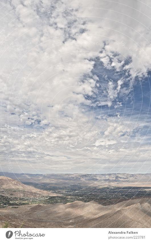 Landschaft Palm Springs III Himmel Natur Wolken Ferne Berge u. Gebirge Umwelt Sand Erde Wetter ästhetisch Klima wild Urelemente Hügel