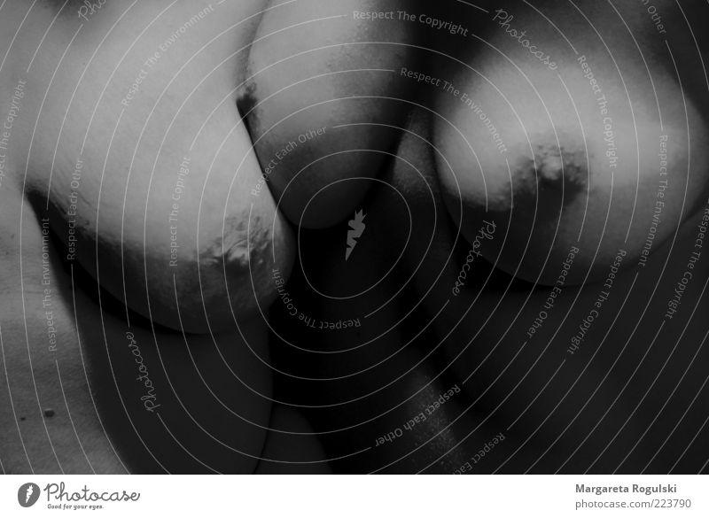 Busenfreundin Frau Mensch Akt Erotik nackt Erwachsene ästhetisch nah Brust berühren Brustwarze nebeneinander Makroaufnahme Schwarzweißfoto Detailaufnahme