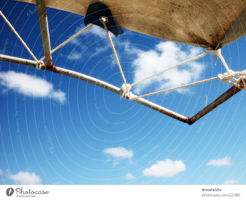 ... bin ich aufm sonnendeck Sonnendeck Wolken türkis Schnur Sonnensegel Himmel blau Graffiti Segel
