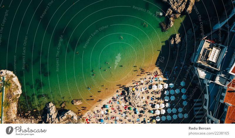 Flug über Menschenmengen mit Spaß am Strand Lifestyle exotisch Freude Schwimmen & Baden Ferien & Urlaub & Reisen Sommer Sommerurlaub Sonne Sonnenbad Meer Insel