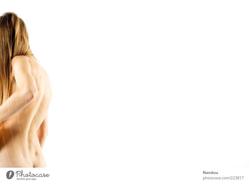 Fehlhaltung Mensch feminin 1 dünn Rücken Körperhaltung krumm seltsam Vor hellem Hintergrund nackt Farbfoto Studioaufnahme Textfreiraum rechts Textfreiraum oben