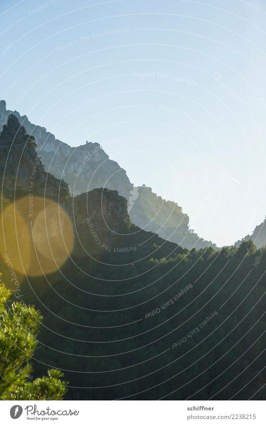Jenseits des Mainstreams | Mallorca Natur Pflanze Landschaft Baum Berge u. Gebirge dunkel Umwelt Felsen Schönes Wetter Gipfel Wolkenloser Himmel steil Bergkette