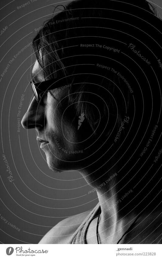 Mann Mensch Mann Jugendliche schön Einsamkeit Gesicht Erwachsene Kopf Haare & Frisuren Traurigkeit Stimmung maskulin Nase ästhetisch Brille 18-30 Jahre