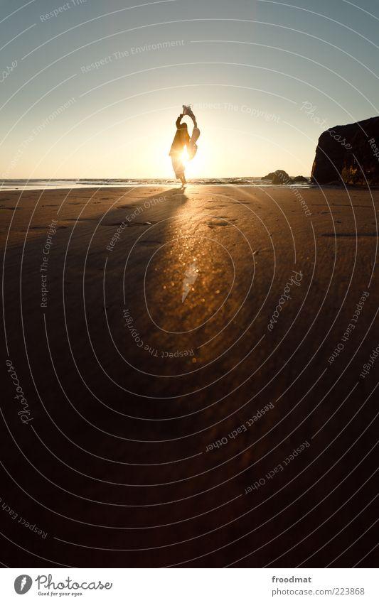 sundance Mensch Frau Natur Ferien & Urlaub & Reisen Sonne Sommer Meer Strand Erwachsene Ferne Erholung Freiheit Horizont Freizeit & Hobby Felsen Ausflug