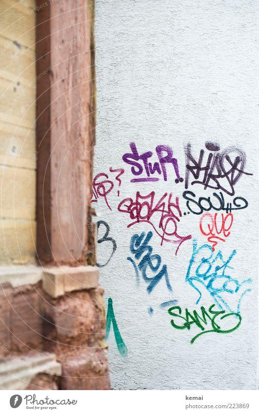 STuR usw. Haus Wand Graffiti Gebäude Mauer Kunst Fassade Schriftzeichen Ecke Kultur Bauwerk Stadtleben Ausdruck Subkultur Wandmalereien Vandalismus